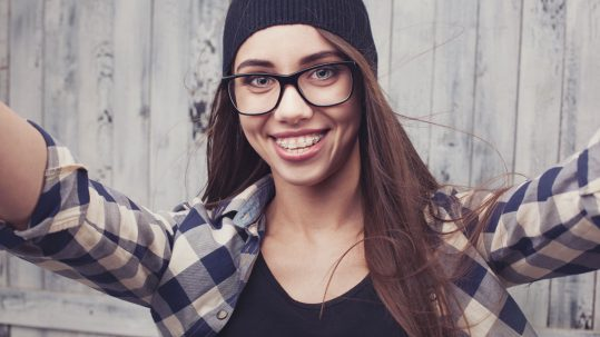 Clear braces are illustrated by this model.