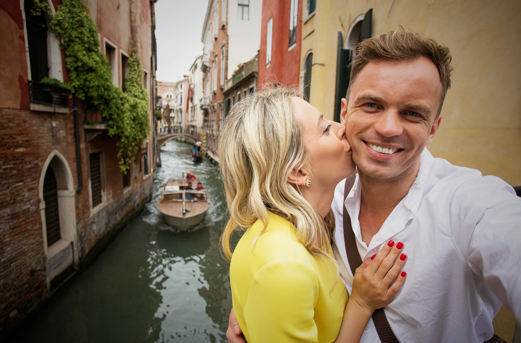 Cheerful couple in Venice