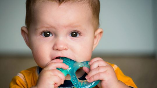 A baby chews a teething toy, a generally safe way to alleviate teething pain.